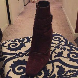 Designer VIA SPIGA SUEDE BOOTS,  Maroon Color